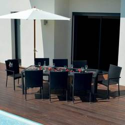 ENSEMBLE BOHEME 8 personnes Table + 8 fauteuils