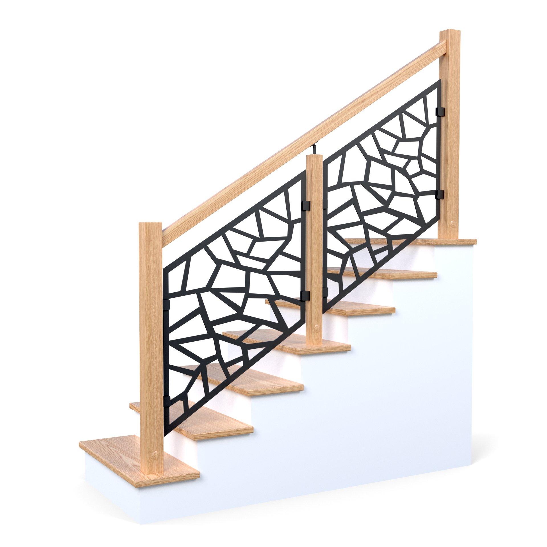 Balustrade en bois barrière métallique ajourée